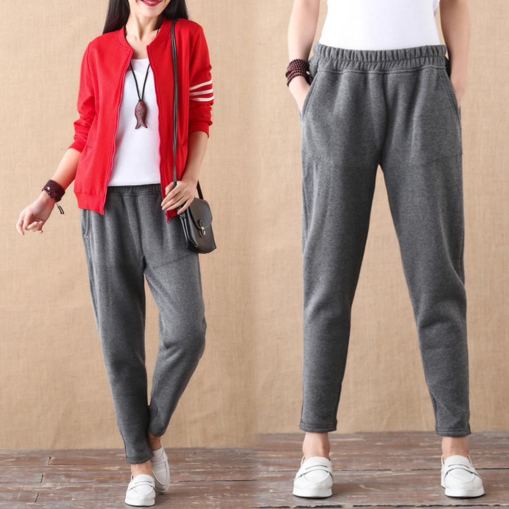 【NUMI】森-禦寒加絨純色休閒褲-共2色-50540(M-2XL可選)2XL深灰色