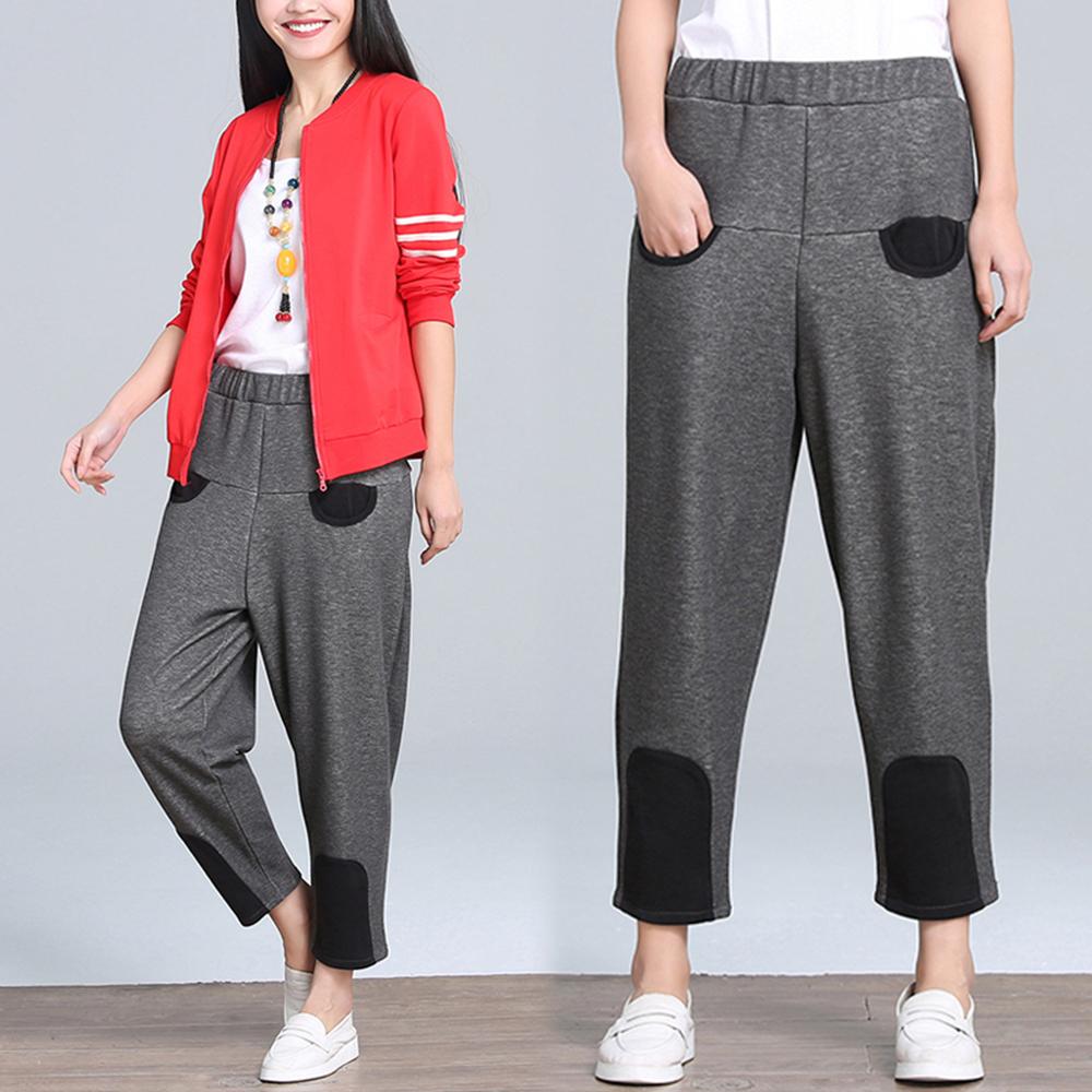 【NUMI】森-禦寒加絨黑色拼接休閒褲-共2色-50541(M-2XL可選)M灰色