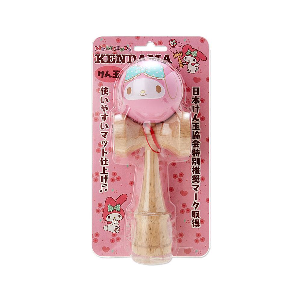《Sanrio》美樂蒂可愛大臉木製劍玉球(粉藍大緞帶)