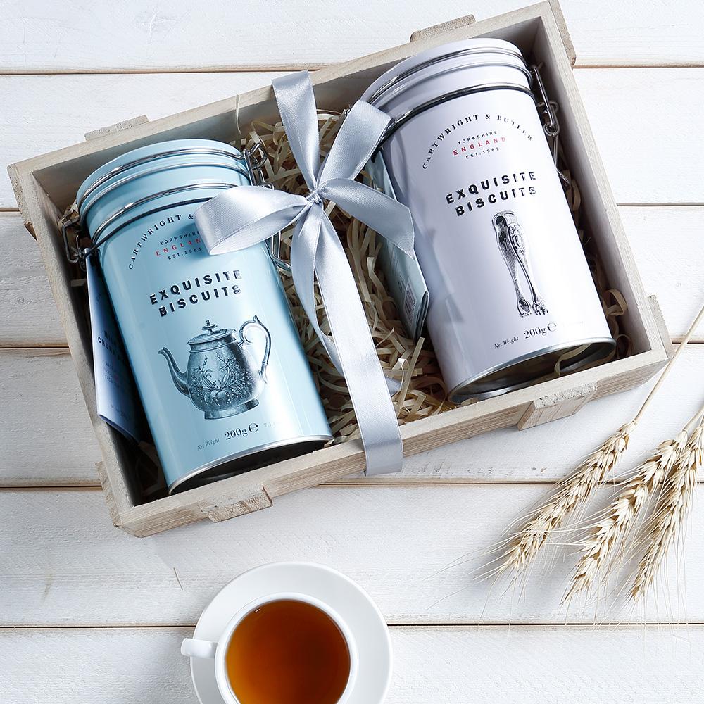 【英國傳統手工】C&B經典鐵罐禮盒-雙口味(巧克力餅+金沙糖酥餅) (含提袋)