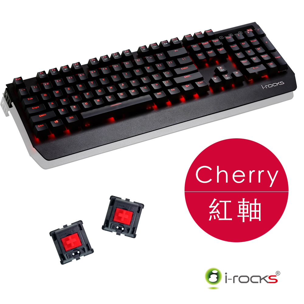 i-Rocks K60M全背光鋁合金機械式電競鍵盤-德國Cherry紅軸