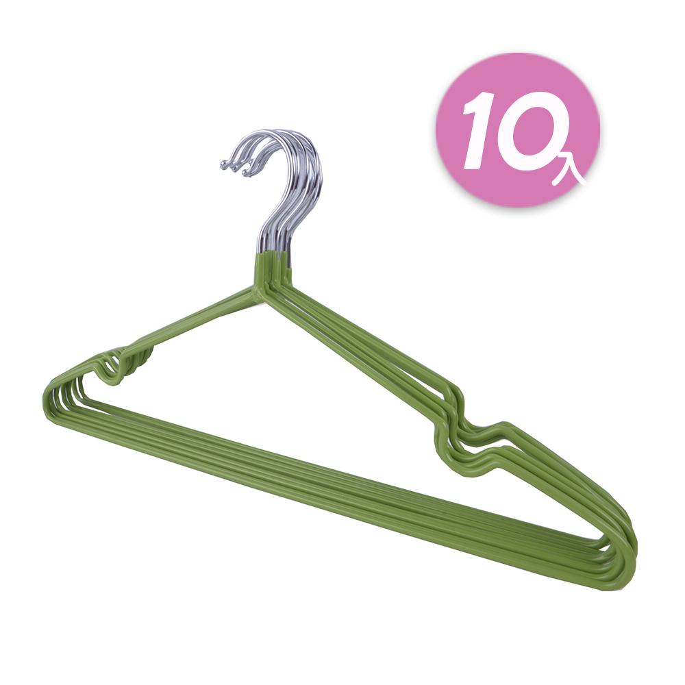 【日韓熱銷】不鏽鋼乾濕兩用防滑衣架10入組 (綠)