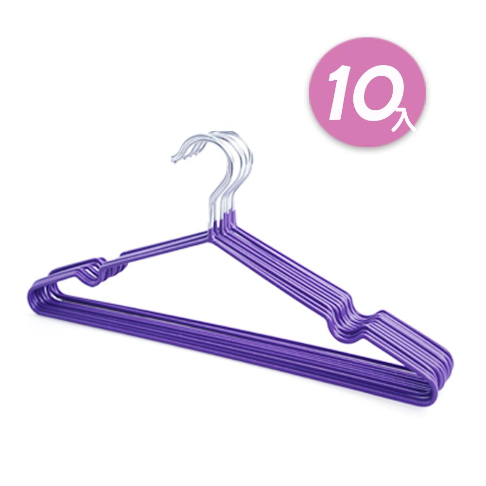 【日韓熱銷】不鏽鋼乾濕兩用防滑衣架10入組 (紫)