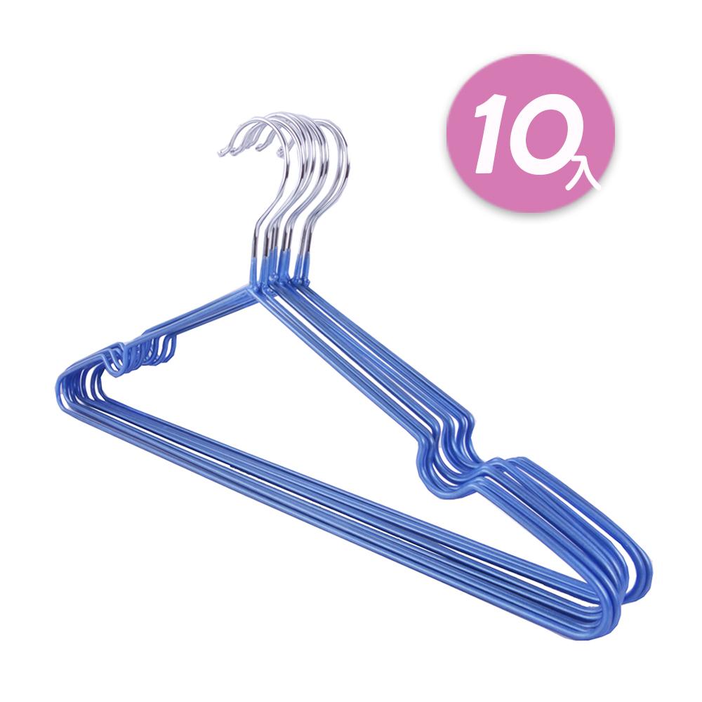 【日韓熱銷】不鏽鋼乾濕兩用防滑衣架10入組 (藍)