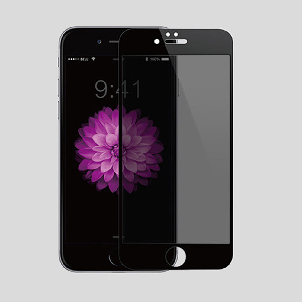 【Q&K】全覆蓋iPhone6+/6s+(5.5吋)防窺超薄9H超薄鋼化保護貼黑色
