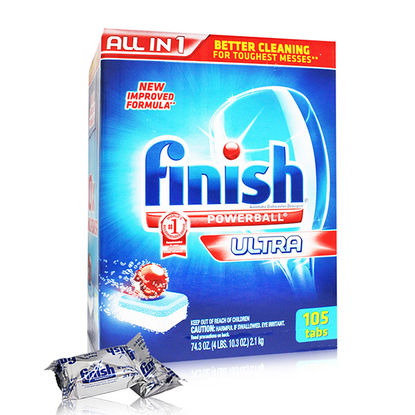 【美國 FINISH】洗碗機專用-洗碗碇105入(10倍清潔-2.1kg/74.3oz)