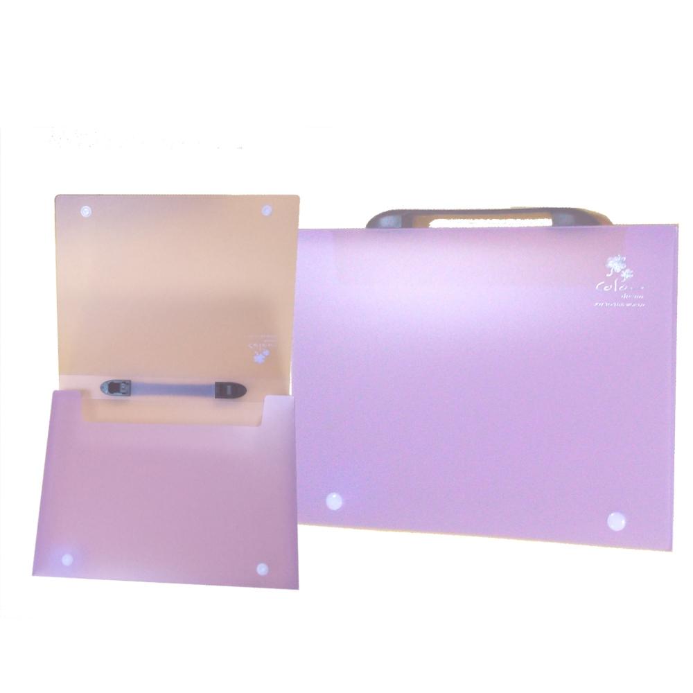 【檔案家】立體手把輕盈A4公文盒(30) 紫果凍