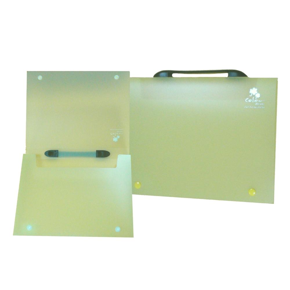 【檔案家】立體手把輕盈A4公文盒(30) 黃果凍