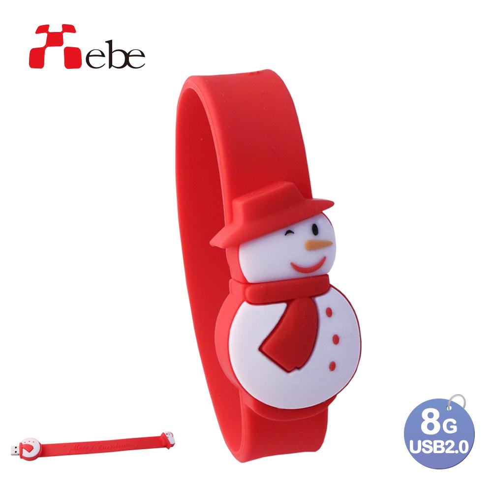 Xebe集比 雪人聖誕手環隨身碟 8G, USB 2.0