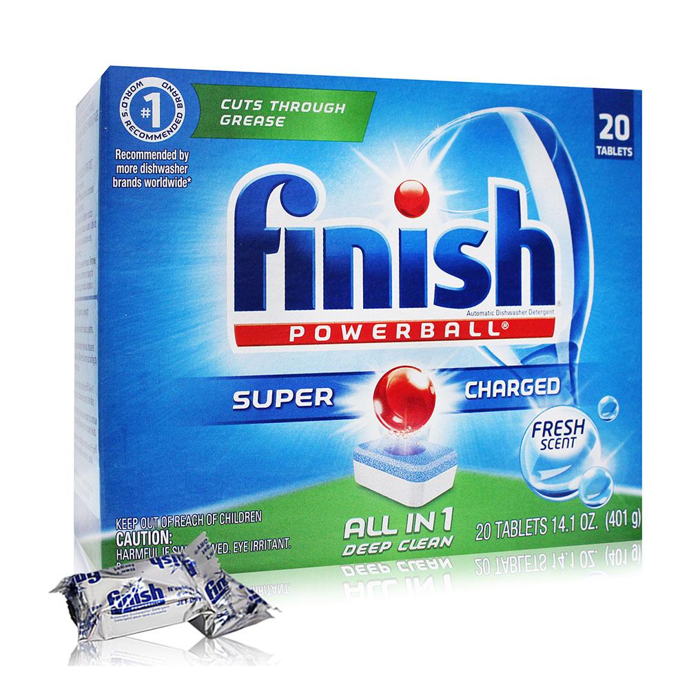 【美國 FINISH】洗碗機專用-強效洗碗碇20入(清新香) 401g/14.1oz