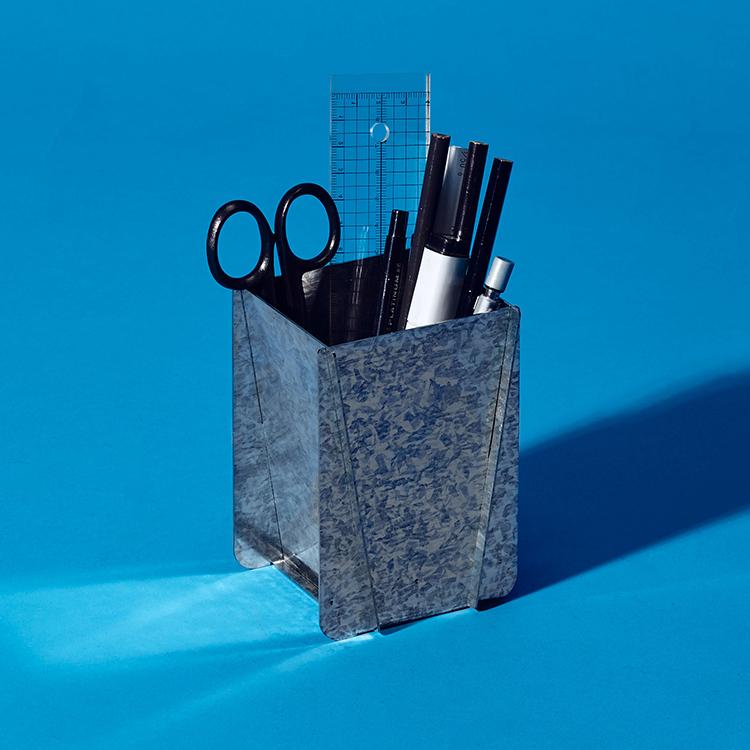 工業幾何筆筒   Hopper鍍鋅銀