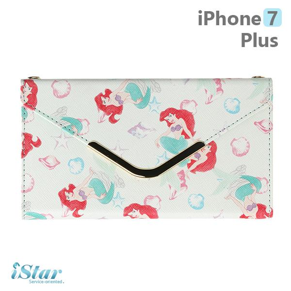 【日本 PGA-iJacket】iPhone7 Plus 正版迪士尼 皮革信封造型側翻式系列(附鏈帶) 手機包-美人魚