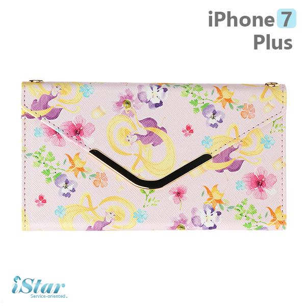 【日本 PGA-iJacket】iPhone7 Plus 正版迪士尼 皮革信封造型側翻式系列(附鏈帶) 手機包-長髮公主