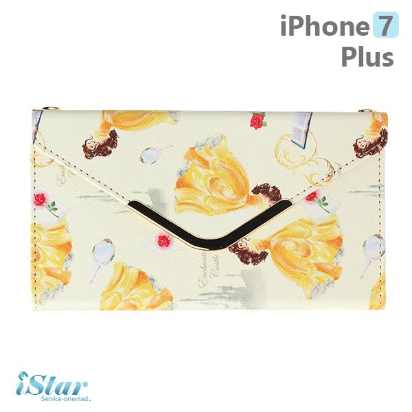 【日本 PGA-iJacket】iPhone7 Plus 正版迪士尼 皮革信封造型側翻式系列(附鏈帶) 手機包-貝拉