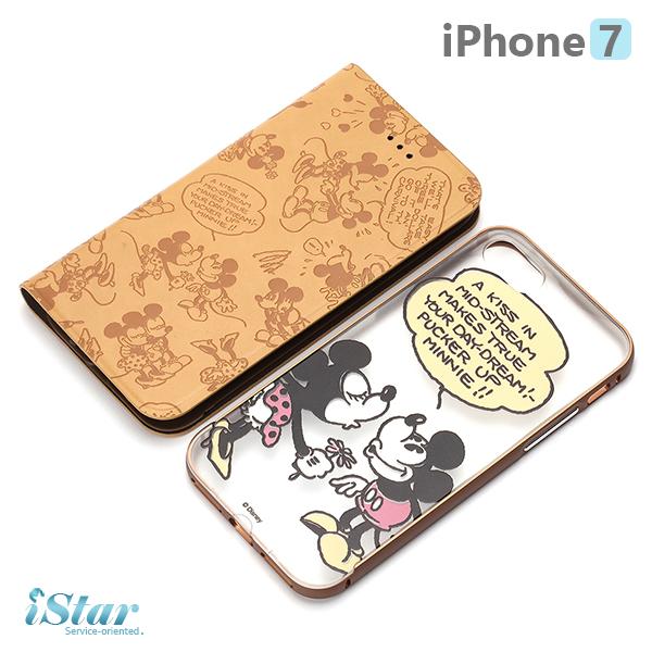 【日本 PGA-iJacket】 iPhone7 正版迪士尼 兩用鋁框透明背蓋/側翻式皮套系列 保護殼-米奇米妮