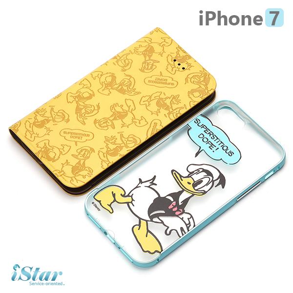 【日本 PGA-iJacket】 iPhone7 正版迪士尼 兩用鋁框透明背蓋/側翻式皮套系列 保護殼-唐老鴨