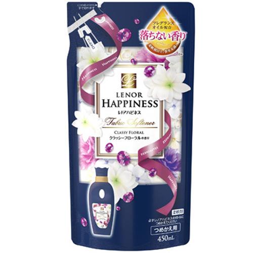 日本HAPPINESS優雅花香衣物柔軟精補充包450ML