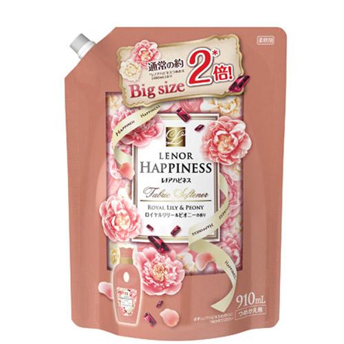 日本HAPPINESS皇家百合&牡丹香氛衣物柔軟精補充包910ML