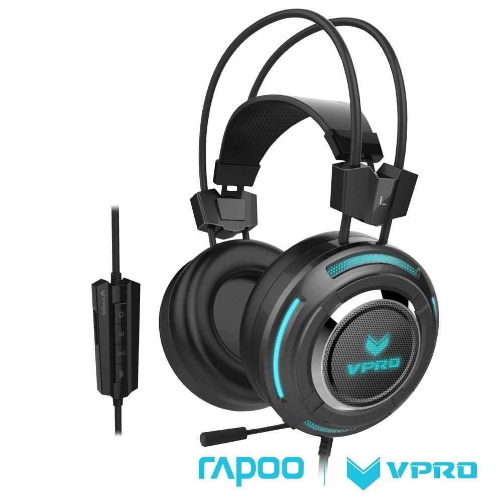雷柏 RAPOO VPRO 全彩虛擬7.1聲道遊戲耳機VH600黑