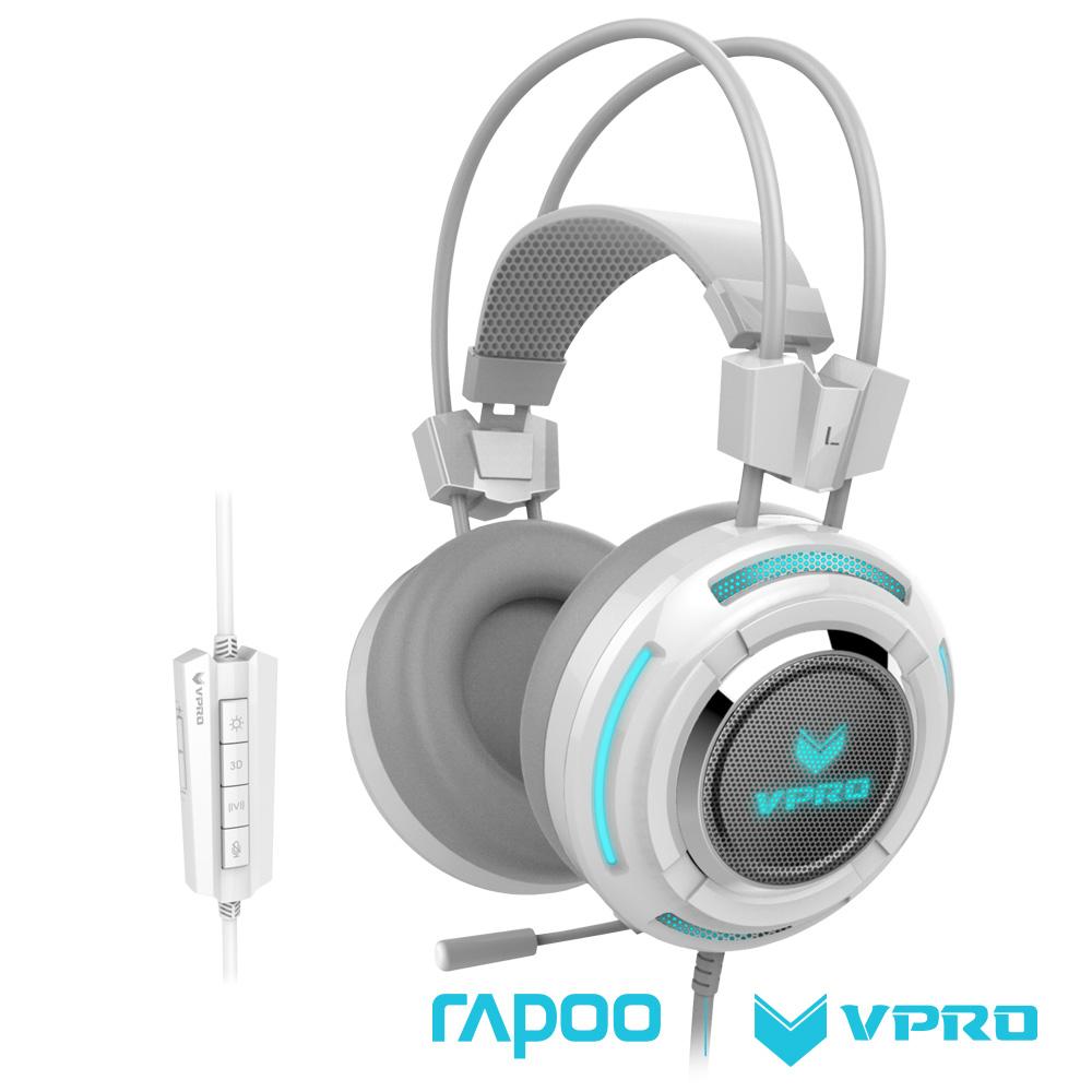 雷柏 RAPOO VPRO 全彩虛擬7.1聲道遊戲耳機VH600白