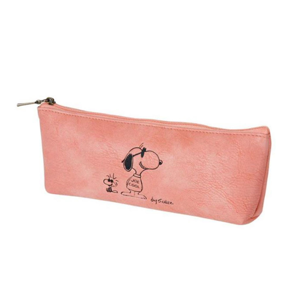 《sun-star》SNOOPY美式生活系列皮革質感筆袋S(JOE COOL紅)