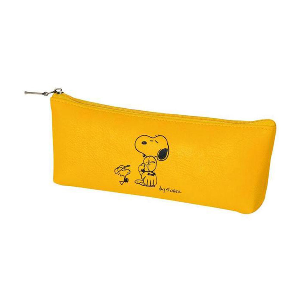 《sun-star》SNOOPY美式生活系列皮革質感筆袋S(棒球黃)