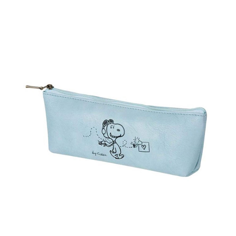 《sun-star》SNOOPY美式生活系列皮革質感筆袋S(飛行員藍)