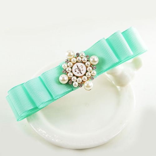 【PinkyPinky Boutique】蒂芬妮藍緞帶蝴蝶結髮夾(藍綠色)