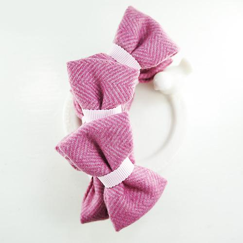 【PinkyPinky Boutique】甜美毛呢蝴蝶結香蕉夾(粉紅)