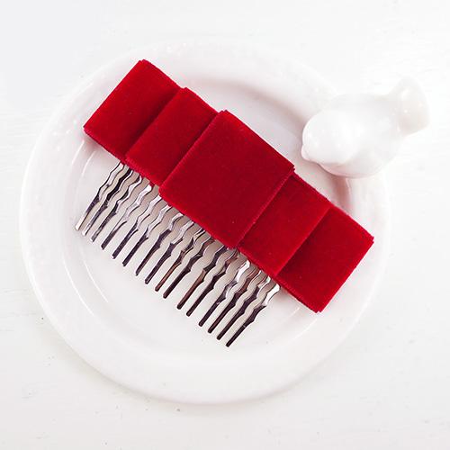 【PinkyPinky Boutique】氣質絨布緞帶蝴蝶結法國梳(紅色)