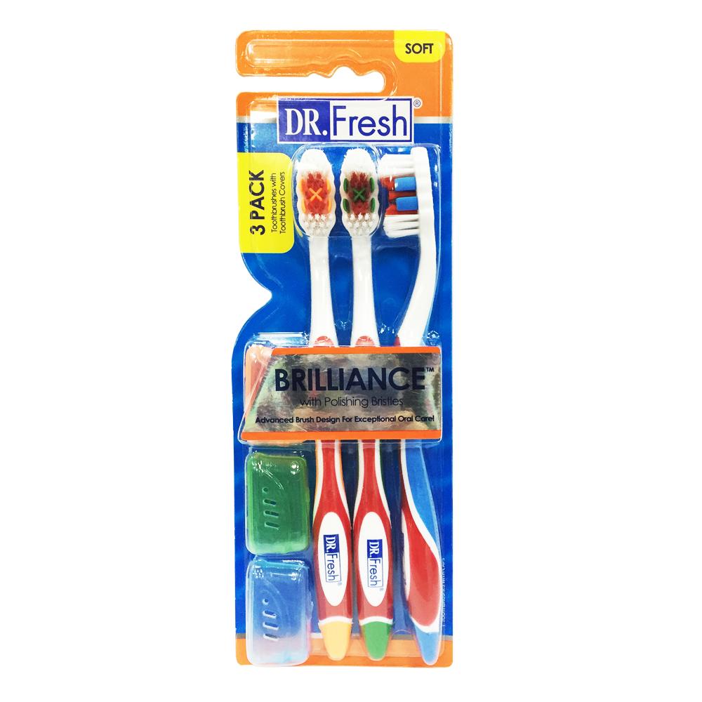 【美國Dr. Fresh】亮白牙刷3入(附牙刷套)