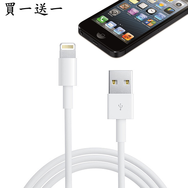 [買一送一] Apple iPhone, iPad, iPod Lightning 對 USB 連接線 (1公尺)白