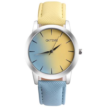 Watch~123 雙面佳人~青春 粉嫩漸層色帶手錶  8色  上黃下藍