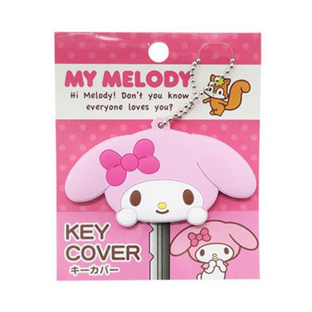 《Sanrio》美樂蒂大臉造型矽膠鑰匙帽(粉緞帶)