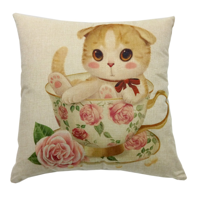 歐式彩繪抱枕套-玫瑰杯貓 不含枕心