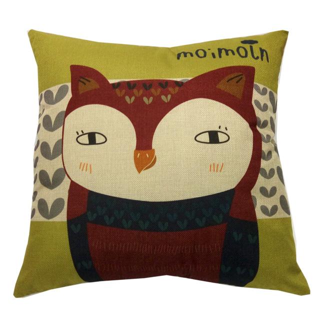 歐式彩繪抱枕套-貓頭鷹 不含枕心