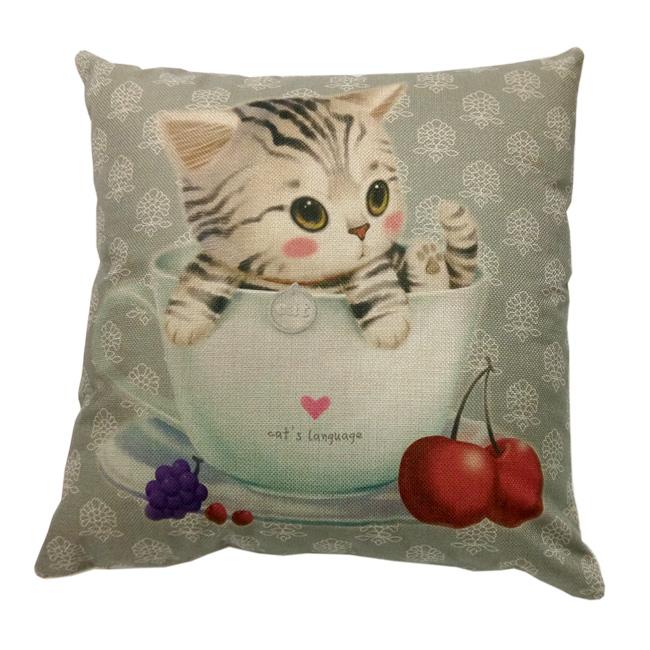 歐式彩繪抱枕套-櫻桃小貓 不含枕心