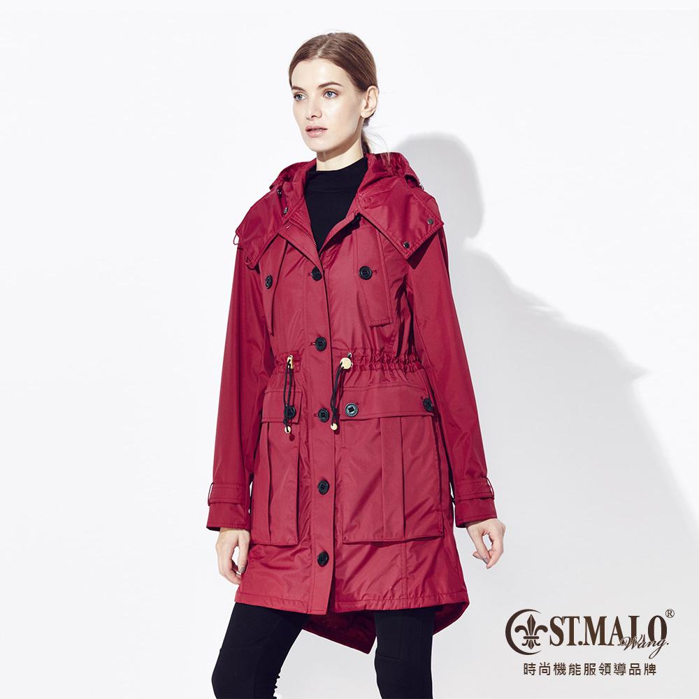 【ST.MALO】復刻蓄暖派克大衣-1558WC-M杜鵑紅