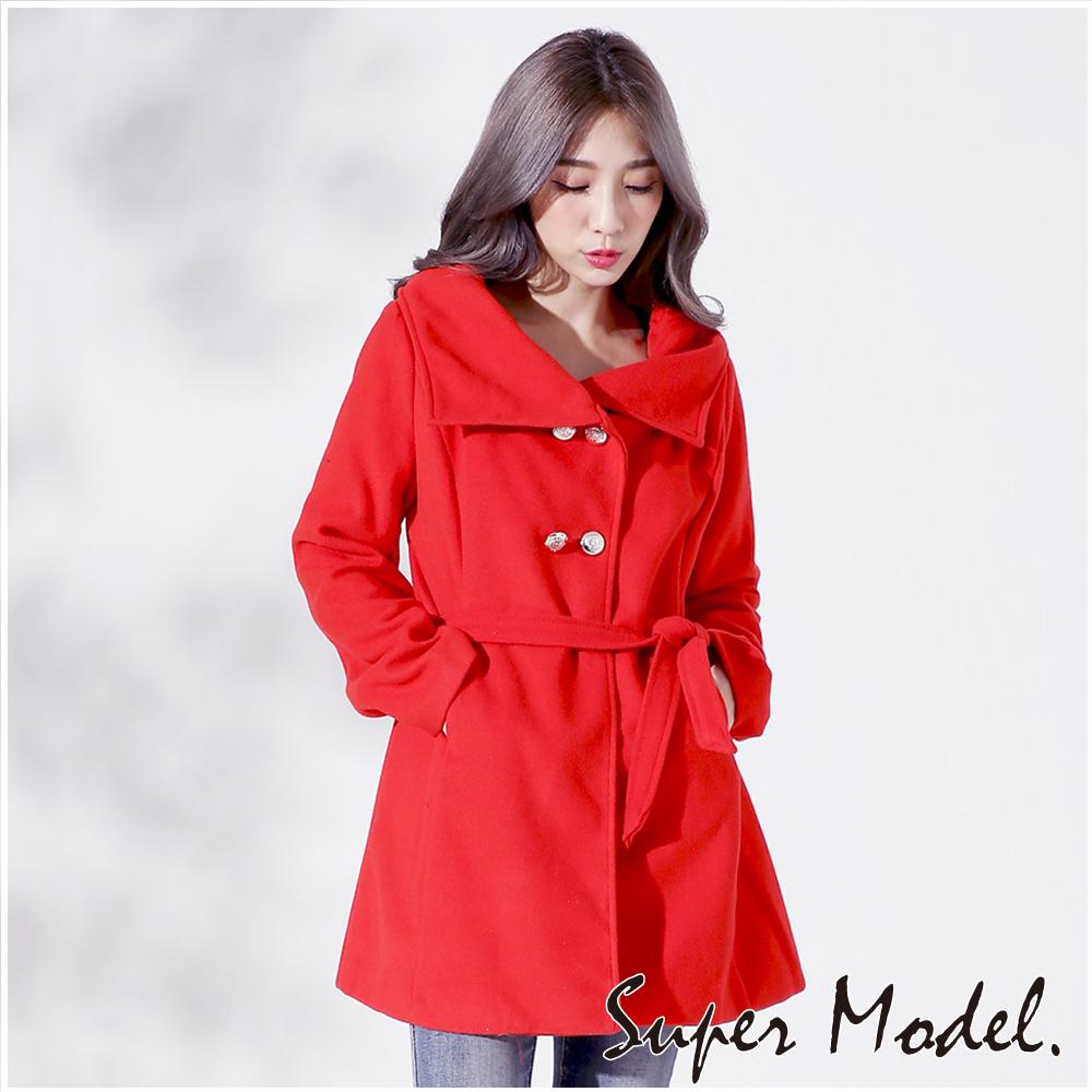 ~ 衣櫃~溫暖毛呢氣質大衣~共4色929 F  F紅色