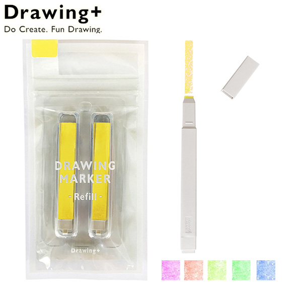 KOKUYO Drawing 方形馬克蠟筆 補充包 螢光色系 ~螢光黃