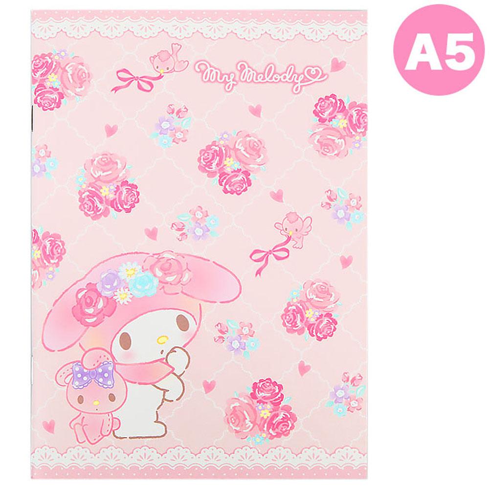 ~Sanrio~美樂蒂A5平裝筆記本 蕾絲玫瑰