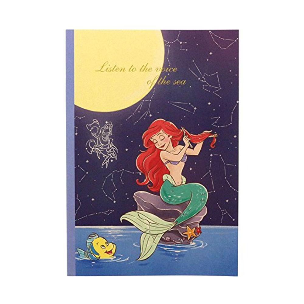 ~sun~star~迪士尼公主靜謐夜空系列B5膠裝方格筆記本 小美人魚