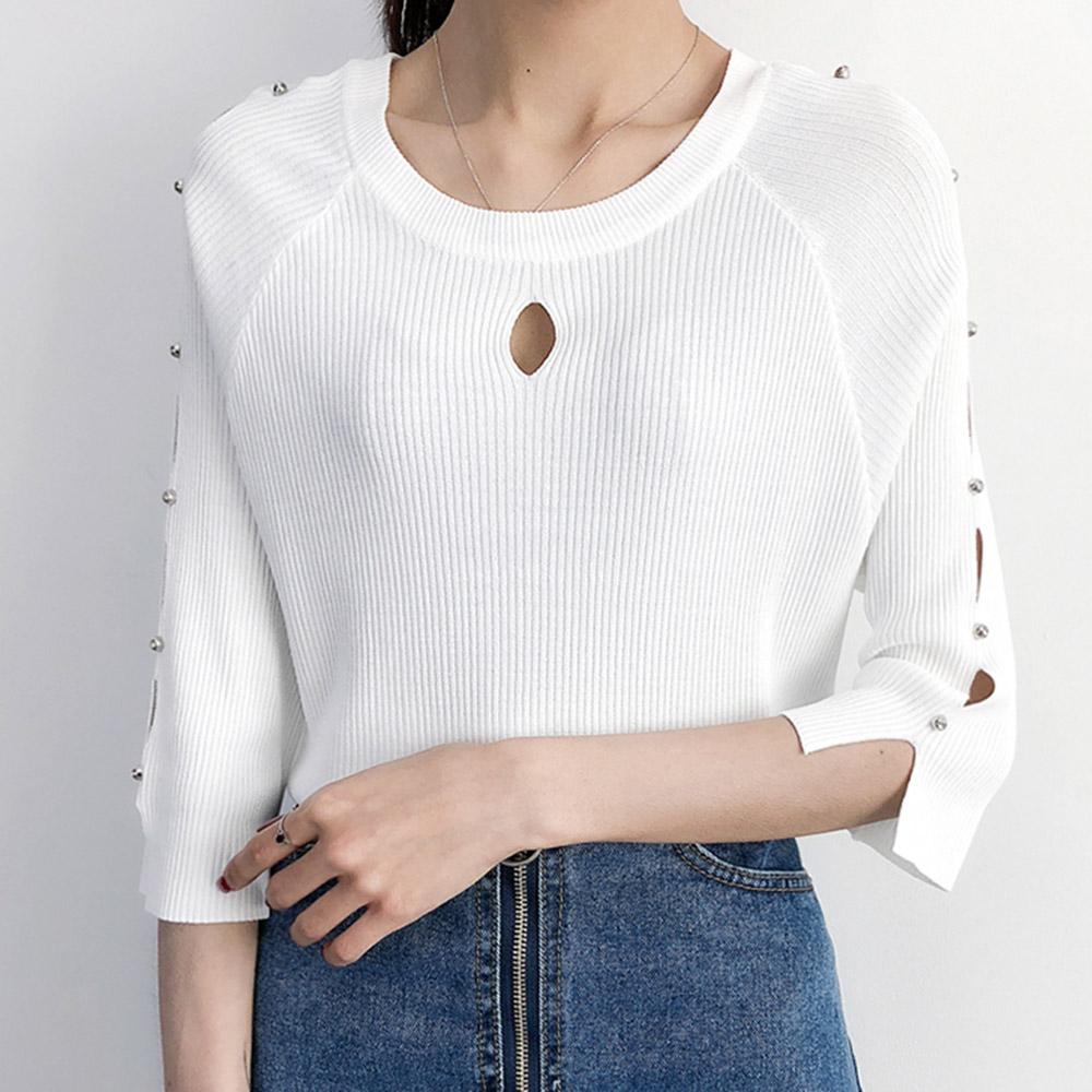 ~MsMore~韓系氣質美臂縷空釘珠針織上衣101873F白
