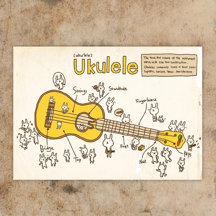 ~hahahana~ 明信片|ukulele(4入)