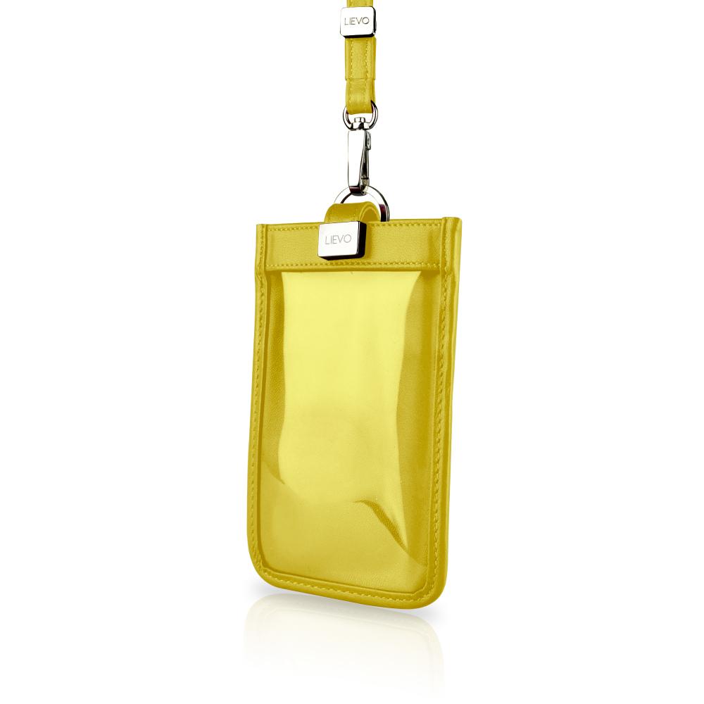 【LIEVO】 TOUCH - 頸掛式真皮手機套_黃 iPhone 8   Galaxy S6   5.1 吋螢幕 手機皆