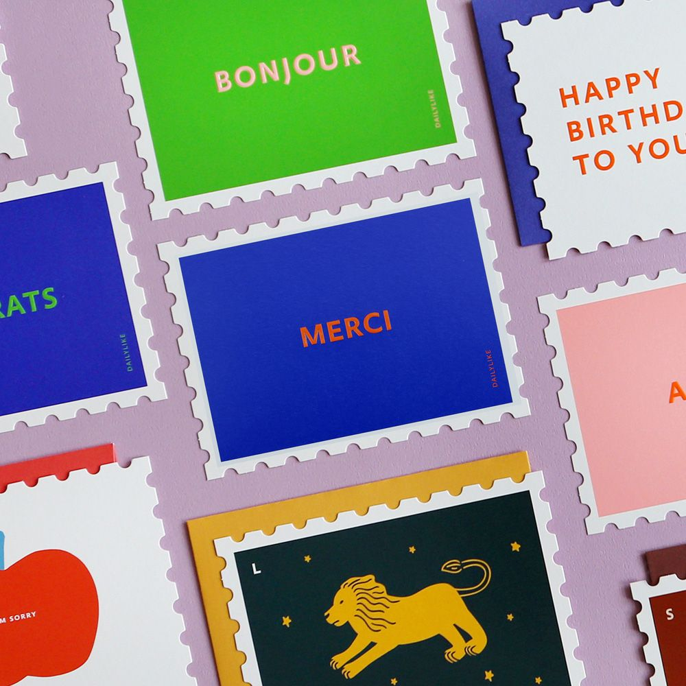 Dailylike 郵票 卡片信封組~03 謝謝