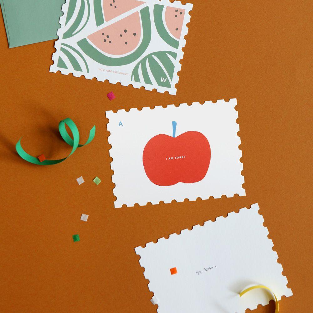 Dailylike 郵票 卡片信封組~09 蘋果