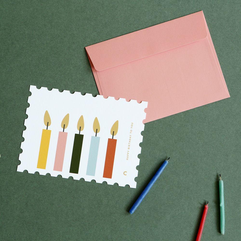 Dailylike 郵票 卡片信封組~10 生日蠟燭