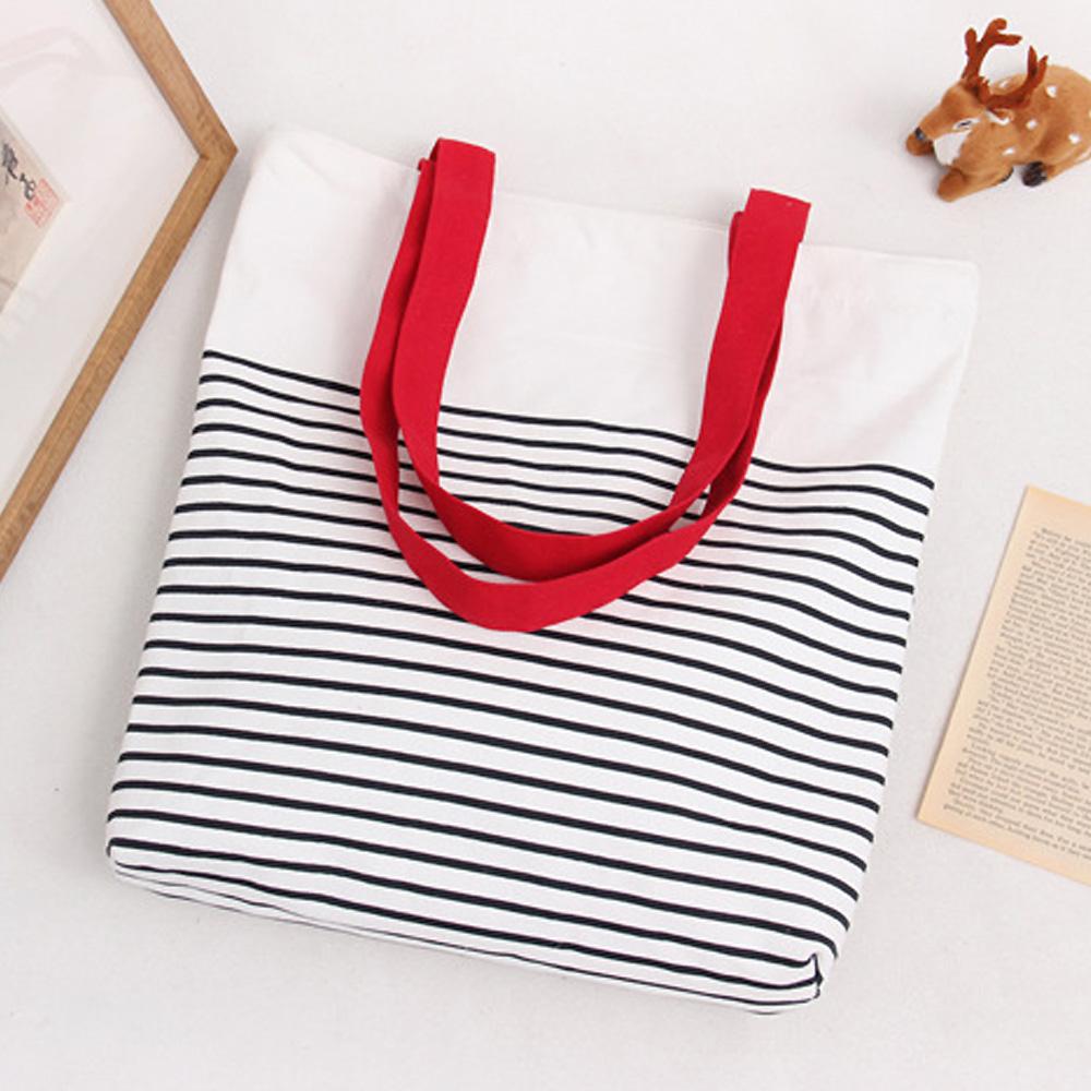 AmaZing 黑白條紋小清新文藝單肩帆布袋  3色  紅色