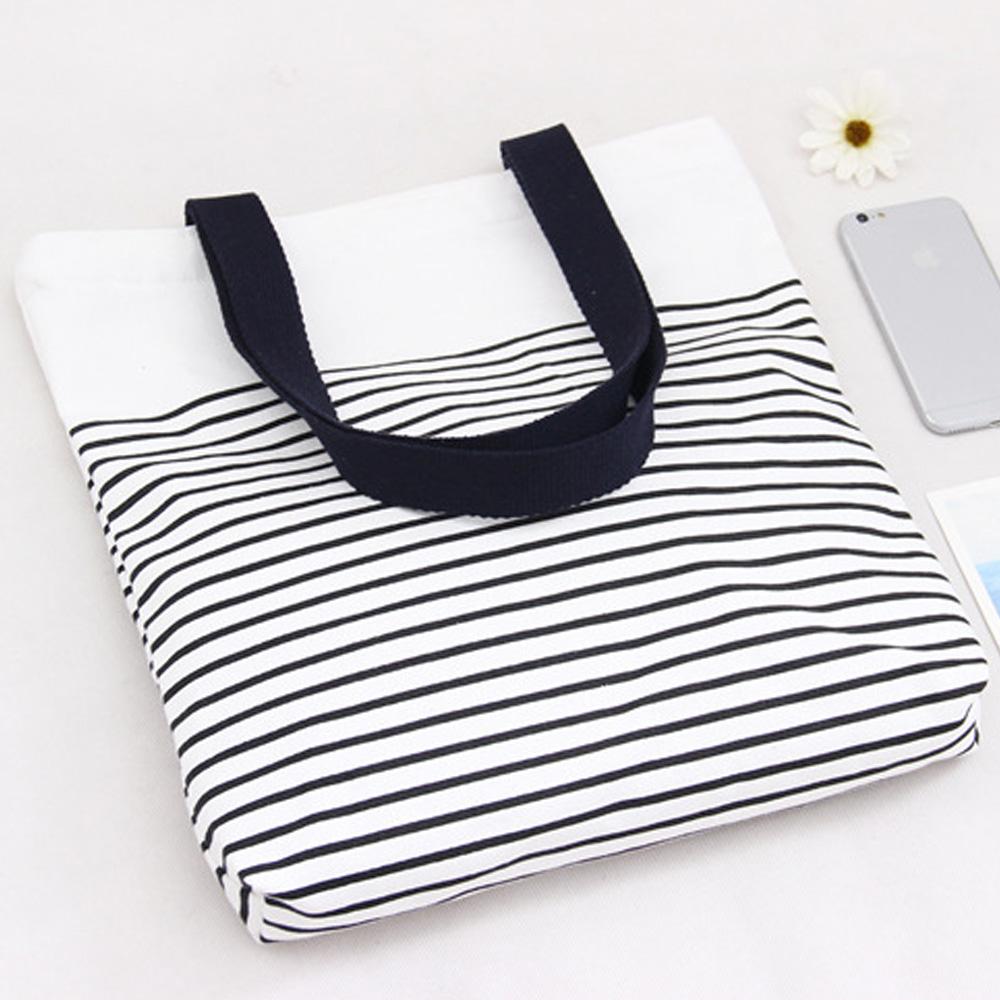 AmaZing 黑白條紋小清新文藝單肩帆布袋  3色  藍色